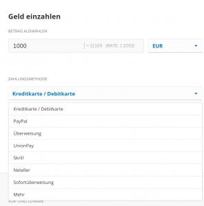 eToro Einzahlungsformular