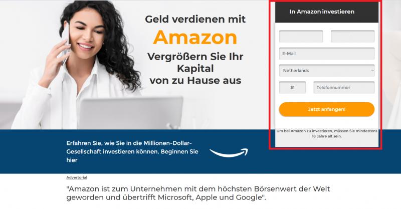 Amazon investieren - Anmeldung