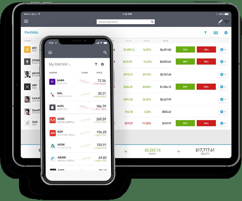 eToro Plattform für Handy und Tablet