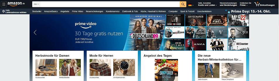 Amazon Startseite Übersicht