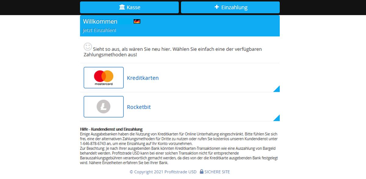 Bitcoin Buyer Einzahlung