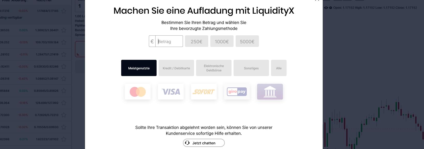 LiquidityX Einzahlung
