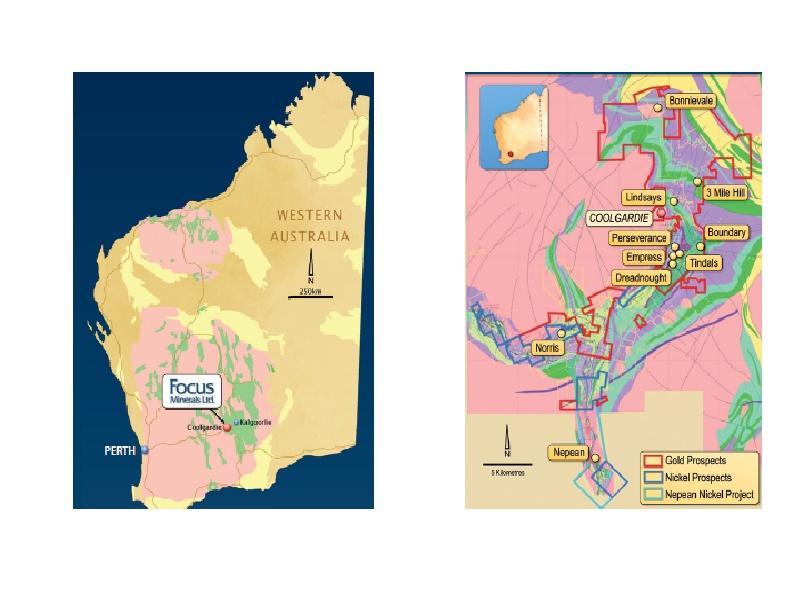 Coolgardie, Westaustralien und rechts die Projekte von Focus Minerals